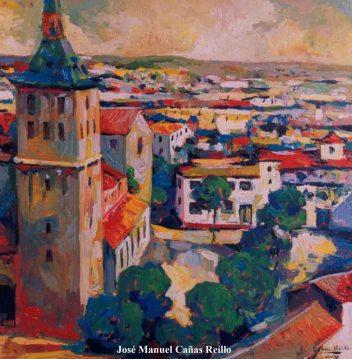 """Y faltaba la torre (Cuadro """"Plaza de Criptana""""): Óleo de José Manuel Cañas Reíllo (2005)"""